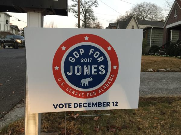 Campaign signs for Republicans who support Jones, the Democrat running in Alabama's special U.S. Senate election on Dec. 12, are popping up throughout the state.