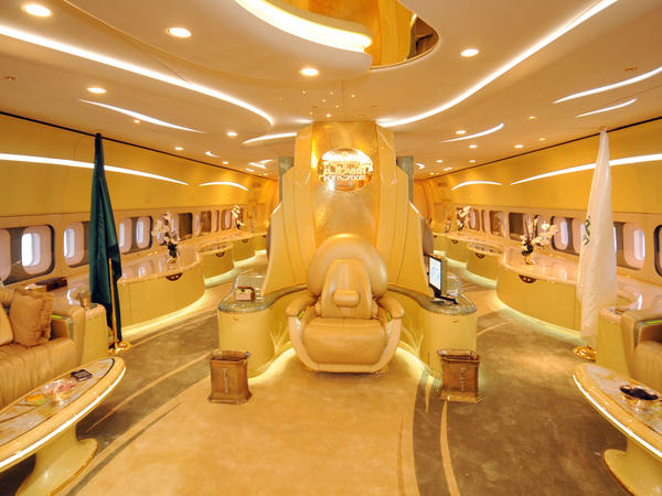 The interior of Saudi Prince Alwaleed bin Talal's private Boeing 747 is trimmed with gold.