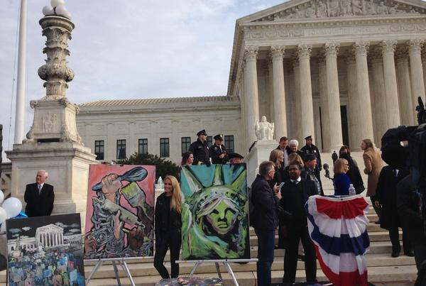 Art on display outside the Supreme Court on Tuesday.