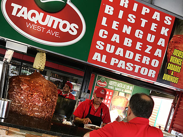 The front counter with its list of meats and big trompo rotisserie is as close as you'll get to a menu at Taquitos West Ave in San Antonio.