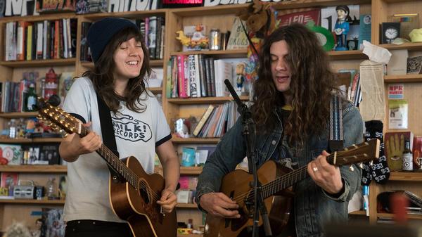 Kurt and Courtney perform a Tiny Desk Concert on Nov. 7, 2017 (Jennifer Kerrigan/NPR).