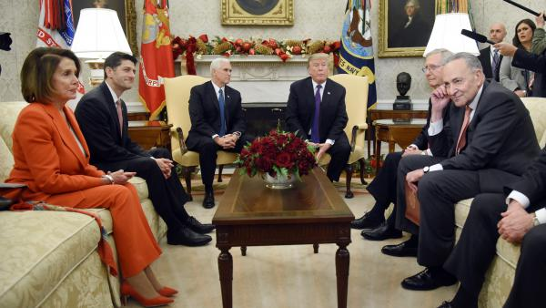 President Trump and Vice President Pence meet with congressional leadership including House Minority Leader Nancy Pelosi, D-Calif., House Speaker Paul Ryan, R-Wis., Senate Majority Leader Mitch McConnell, R-Ky., and Senate Minority Leader Chuck Schumer, D-N.Y., in the Oval Office on Thursday.