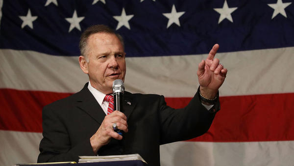 Alabama Republican Seante nominee Roy Moore speaks during a campaign event earlier this week.