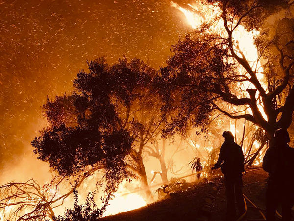 In a photo released by the Santa Barbara County Fire Department, firefighters knock down flames advancing on homes atop Shepherd Mesa Road in Carpinteria, Calif., on Sunday.