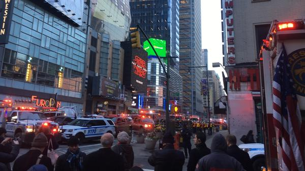 After an explosion a block away, police swarmed through Times Square in Midtown Manhattan.