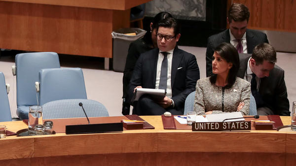 Nikki Haley, U.S. ambassador to the United Nations, looks on during an emergency meeting of the United Nations Security Council in New York City on Nov. 29.