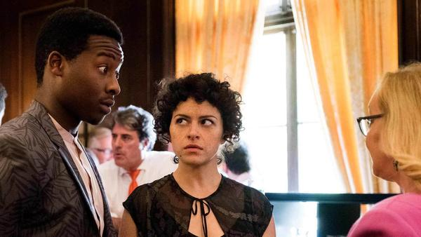Alia Shawkat and Brandon Micheal Hall play Dory and Julian in <em>Search Party</em>.