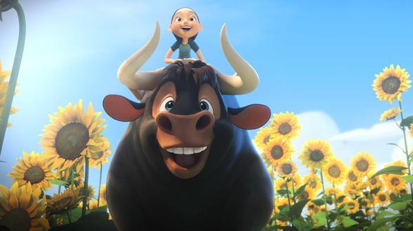 Ferdinand, voiced by John Cena, and Nina (Julia Saldanha and Lily Day).