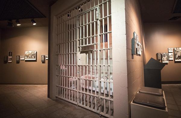 The actual jail bars behind which Martin Luther King Jr. was held for eight days after being arrested for protesting for civil rights without a permit, at the Birmingham Civil Rights Institute in Birmingham, Ala. (Jackson Mitchell/Here & Now)