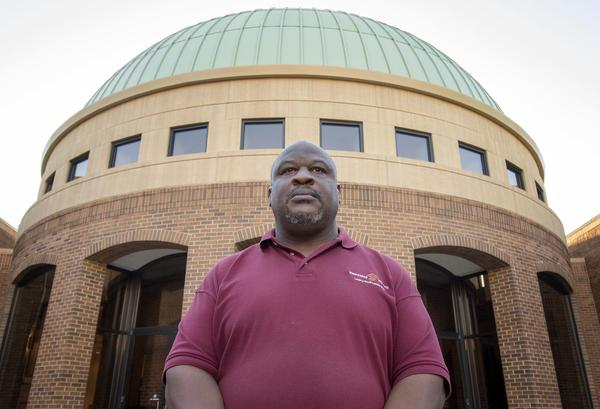 Barry McNealy, in front of the Birmingham Civil Rights Institute in Birmingham, Ala. (Jackson Mitchell/Here & Now)