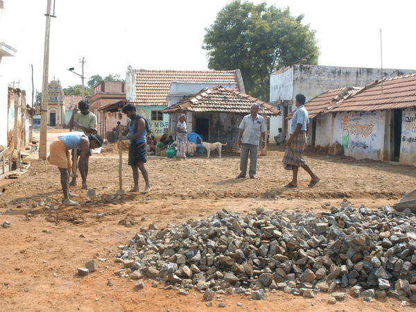 """Dalits, formerly known as """"untouchables,"""" do construction work in Tamil Nadu, India. Members of the lower caste are often relegated to jobs such as construction and garbage collection."""