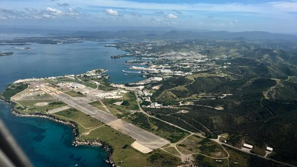 Naval Station Guantanamo Bay. Camp Justice is located at the end of a decommissioned airstrip.