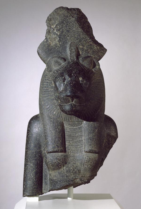 Stone bust of the goddess Sakhmet.