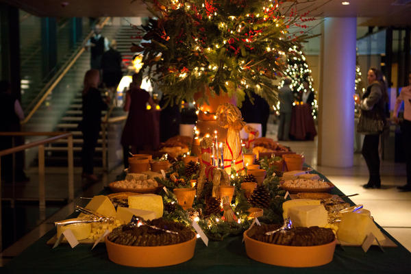 A<em> smörgåsbord </em>at the Christmas party held at the Swedish Embassy in Washington, D.C. this year. The smörgåsbord was introduced to America in 1939 by the Swedish delegation to the World's Fair. The holiday version of the meal, called a <em>julbord,</em> is traditionally served on Dec. 24 and features an endless array of fish, bread and cheese, cold meats, hot dishes and dessert.