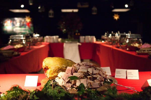 "Ham is often considered a star of the<em> julbord</em>, seen here at the Swedish embassy. Aquavit chef Emma Bengtsson says as a child, she loved her mother's Christmas ham: It was ""really, really good. Other people would say it's dry as hell and overcooked, but that's what I grew up with. I can't eat it any other way."""