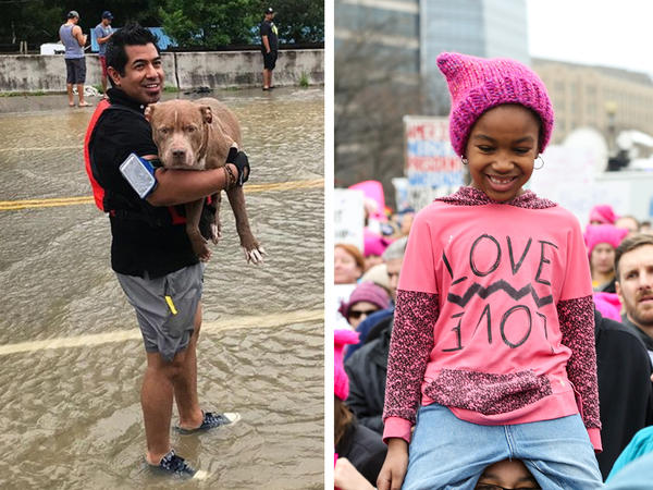 NPR's top Instagram posts of the year. (Left) Rescuers in Houston retrieve a dog after flooding from Hurricane Harvey. (Center) Sarah and her mom Tamara traveled from Detroit to be part of the the Women's March on Washington. (Right) A still image from an episode of NPR's Hot Pot series on food and memory.