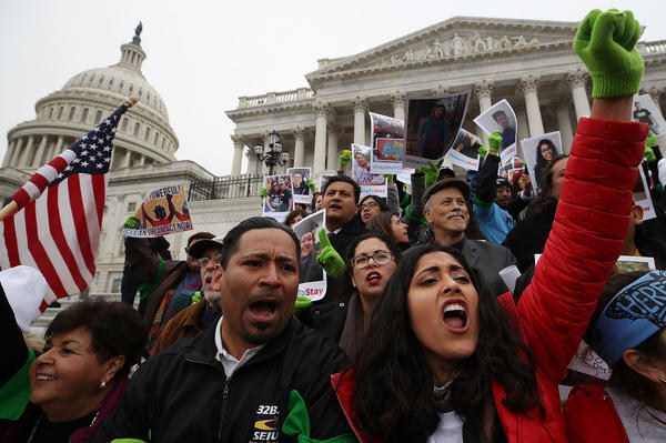 People who call themselves DREAMers, protest in front of the U.S. Capitol to urge Congress to pass a DREAM Act earlier this month.