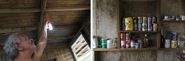 (Left) José Ramón Sierra Meléndez, turns on a light bulb inside their recently repaired house. (Right) Felicita and José store canned food in their home.