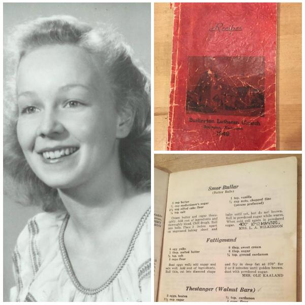 The author's grandmother, Ruth Wilkinson, and the 1949 church cookbook where the family recipe appears.