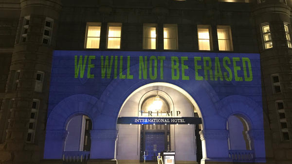 The Human Rights Campaign, an LGBTQ civil rights organization, projected seven words that were allegedly banned from some CDC documents onto the facade of the Trump International Hotel in Washington, D.C., on Tuesday.