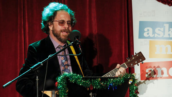 House musician Jonathan Coulton plays a song on the Ask Me Another holiday special at the Bell House in Brooklyn, New York.