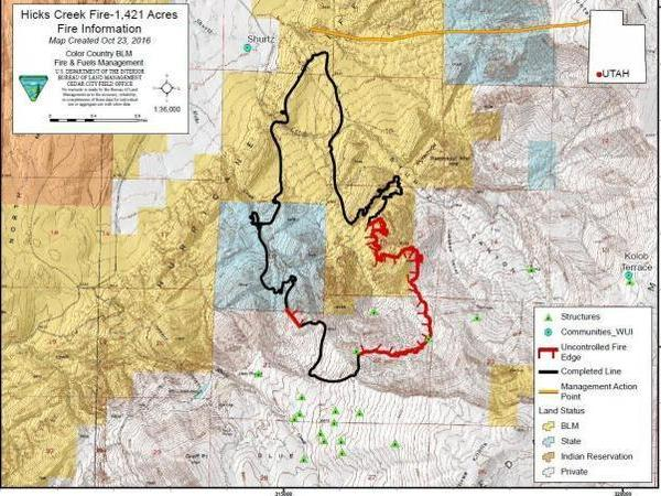 In this map from the U.S. Department of the Interior, the thick black line indicates a contained edge and the thick red line indicates an uncontrolled fire edge. This map shows a 60 percent containment rate of Utah's Hicks Creek Fire in October 2016.