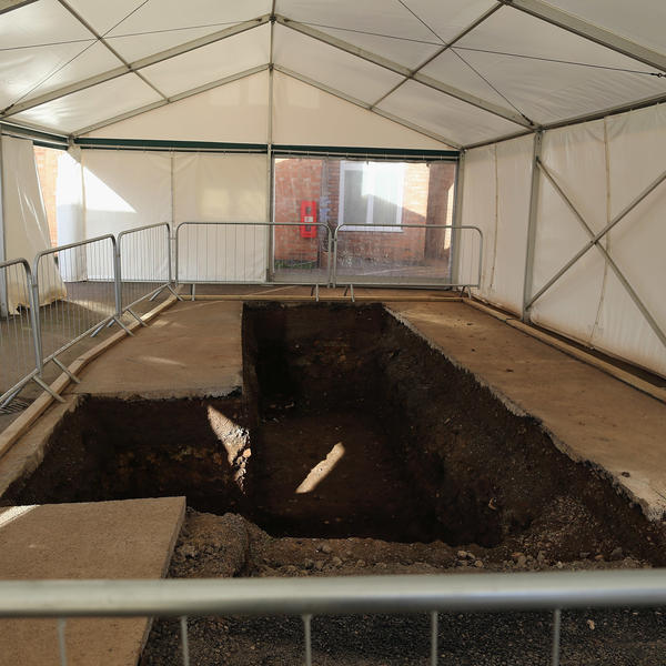 A marquee sits over the spot where the remains of King Richard III were found in a car park in Leicester, England, in a photo taken in February 2013.