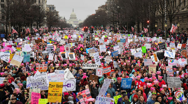 Hundreds of thousands march down Pennsylvania Avenue during the Women's March in Washington, D.C., on Jan. 21.