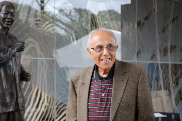 Ahmed Kathrada, anti-apartheid activist and close friend of former South African President Nelson Mandela, visits the Nelson Mandela Foundations Centre of Memory, two days after South African former president Nelson Mandela's death.