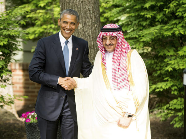President Barack Obama shakes hands with then-Saudi Crown Prince Mohammed bin Nayef after meeting with Gulf Cooperation Council leaders at Camp David in Maryland in 2015.