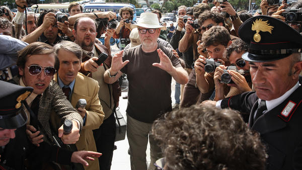 Director Ridley Scott on the set of <em>All the Money in the World</em>.