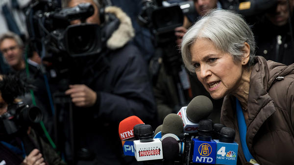 Green Party presidential candidate Jill Stein speaks at a news conference across the street from Trump Tower in December in New York City.
