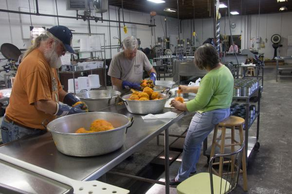 Tom Crouse (left), Lester Goin, and Becky Goin peel sweet potatoes in the Prince Edward County cannery.