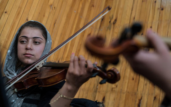 Marjan practices at the Afghanistan National Institute of Music in Kabul.