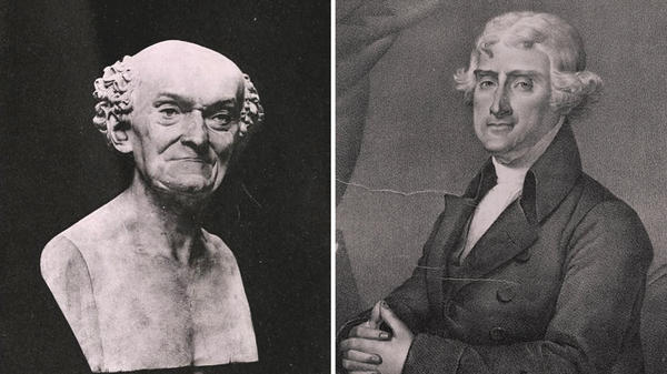 French scientist Joseph Dombey (shown in a bust at left) was dispatched to the U.S. in the mid-1790s to share the early metric system, at the request of Secretary of State Thomas Jefferson.