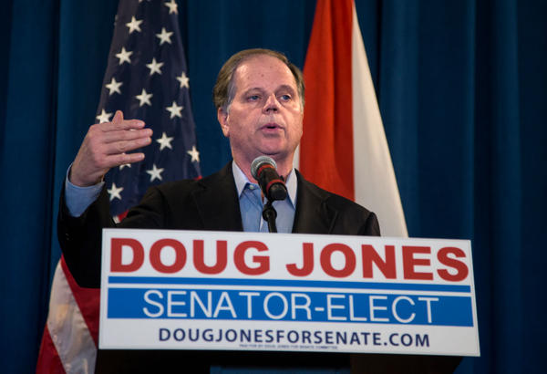 Sen.-elect Doug Jones, D-Ala., speaks on Dec. 13, 2017 in Birmingham, Ala. (Mark Wallheiser/Getty Images)