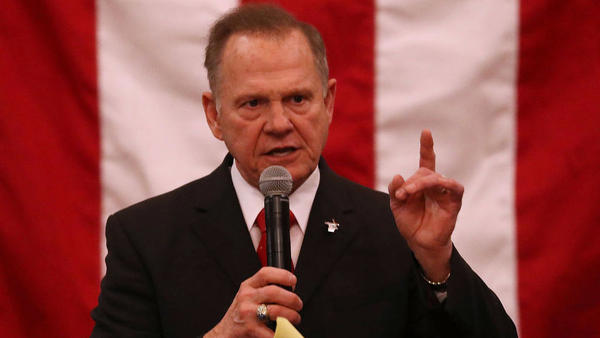 Alabama GOP Senate nominee Roy Moore speaks during a campaign event in Midland City on the eve of the special election earlier this month.