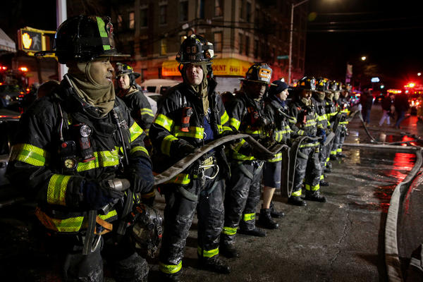About 170 firefighters suffered through bone-cracking cold to rescue people from the building. The water from their hoses froze on the streets.