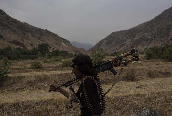 A member of the Afghan local police on patrol in Nangarhar province. U.S. and Afghan forces are currently working to remove ISIS fighters from the area.