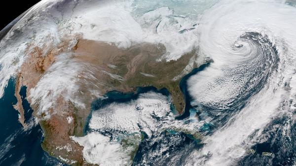 An NOAA satellite image shows the massive winter storm currently affecting New England.