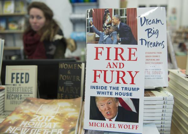 A copy of <em>Fire and Fury</em> sits on display at a bookstore in Washington, D.C., on Friday. The book was rushed into bookstores and onto e-book platforms because of demand and the threat of a lawsuit from President Trump.