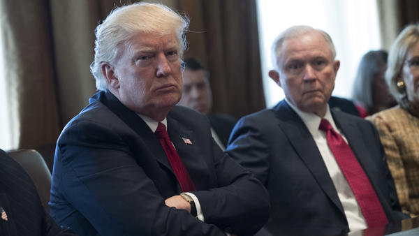 President Trump and Attorney General Jeff Sessions attend a panel discussion on opioid and other drug abuse at the White House on March 29, 2017.
