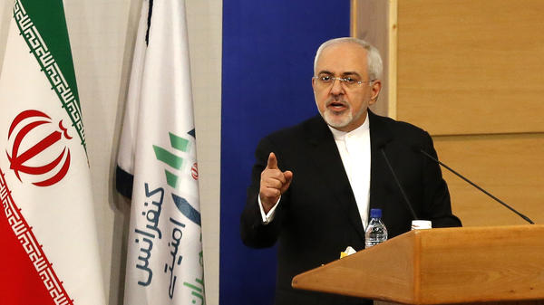 Iranian Foreign Minister Mohammad Javad Zarif speaks during the Tehran Security Conference on Monday.