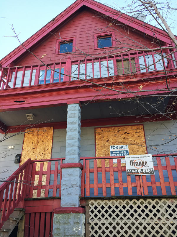 One of many boarded up homes in a Milwaukee neighborhood, where affordable housing is scarce.