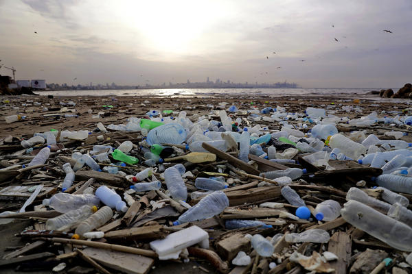Garbage lies north of Beirut in 2017, after it washed away from a nearby seaside dump. Beirut and its suburbs generate some 3,000 tons of garbage per day.