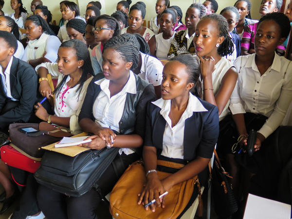 Audience members at the first all-female debate tournament held at the Akilah Institute.