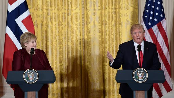 President Trump speaks during a news conference with Norwegian Prime Minister Erna Solberg at the White House on Wednesday.