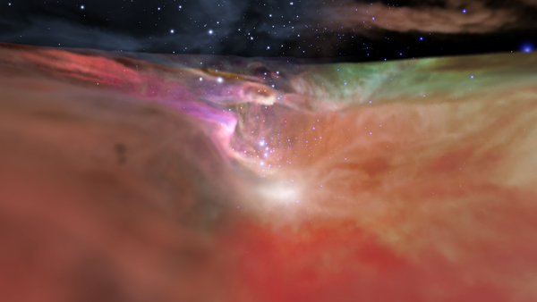 An artist's rendition of a star cluster in the Orion Nebula, using both visible-light and infrared-light visualizations.