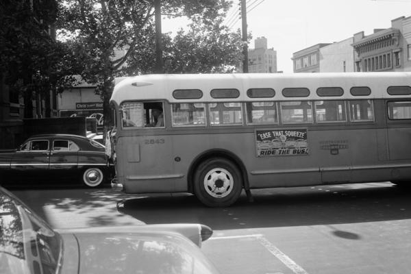 A bus driver is all alone as his empty bus moves through downtown Montgomery, Ala., in April 1956 during the boycott. Georgia Gilmore's cooking helped fund an alternative system of transportation that arose for the city's African-Americans during the boycott.