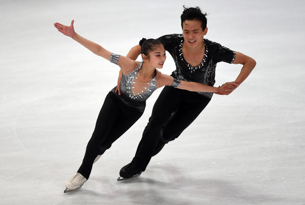 Ryom Tae Ok and Kim Ju Sik of North Korea perform during their pairs short program in Oberstdorf, Germany, in September.